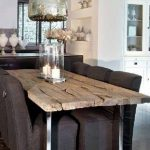 rustic corner booth dining set idea with brown sofa design with stainless steel vault pendant and concrete flooring