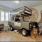 safari-bunk-bed-and-car-bed-design-for-kids-with-elephant-lion-zebra-and-giraffe-and-panther-and-wooden-bench-near-white-window