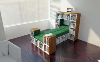 saving-space-with-tetran-cubes-for-sleep-with-green-bed-and-bookshelves-with-many-books-inside-also-white-wall-and-white-window-also-wooden-floor