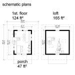 Schematic Pentagon Cabin Plans With One Bedroom In Loft And Furniture In First Floor Also A Porch