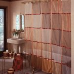 sheer bohemian shower curtain idea with plaid pattern in red tone with freestanding sink and metal table and glass window
