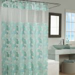 sheer green bohemian shower curtain design with transparent accent and curved rod and wall mirror and vanity and glass window