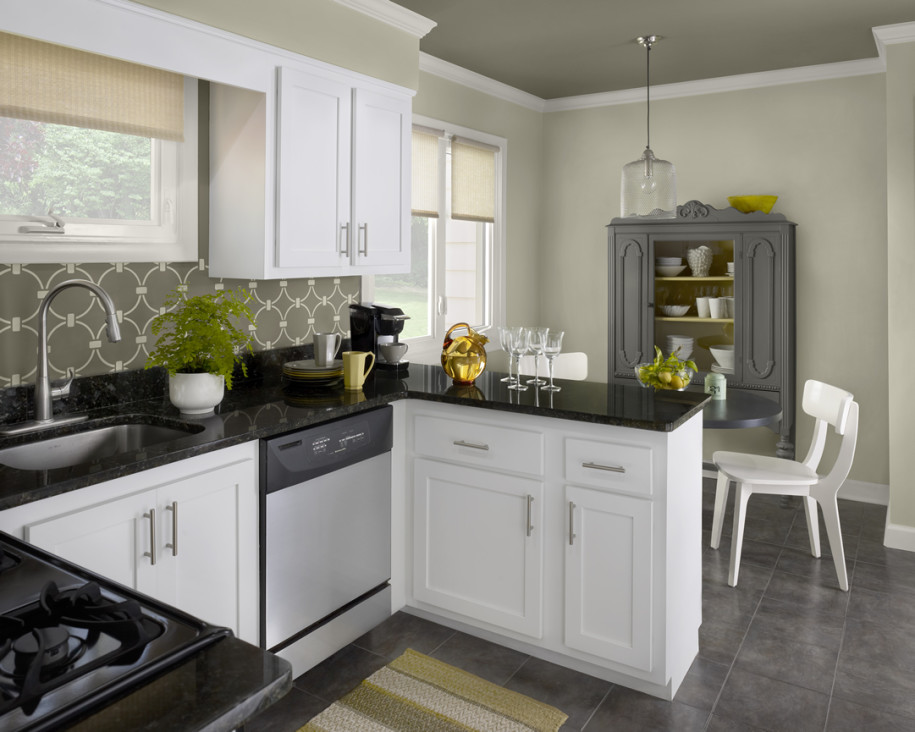 Simple Black Gray And White Color Kitchen Paint Idea With Wooden Cabinetry Storage