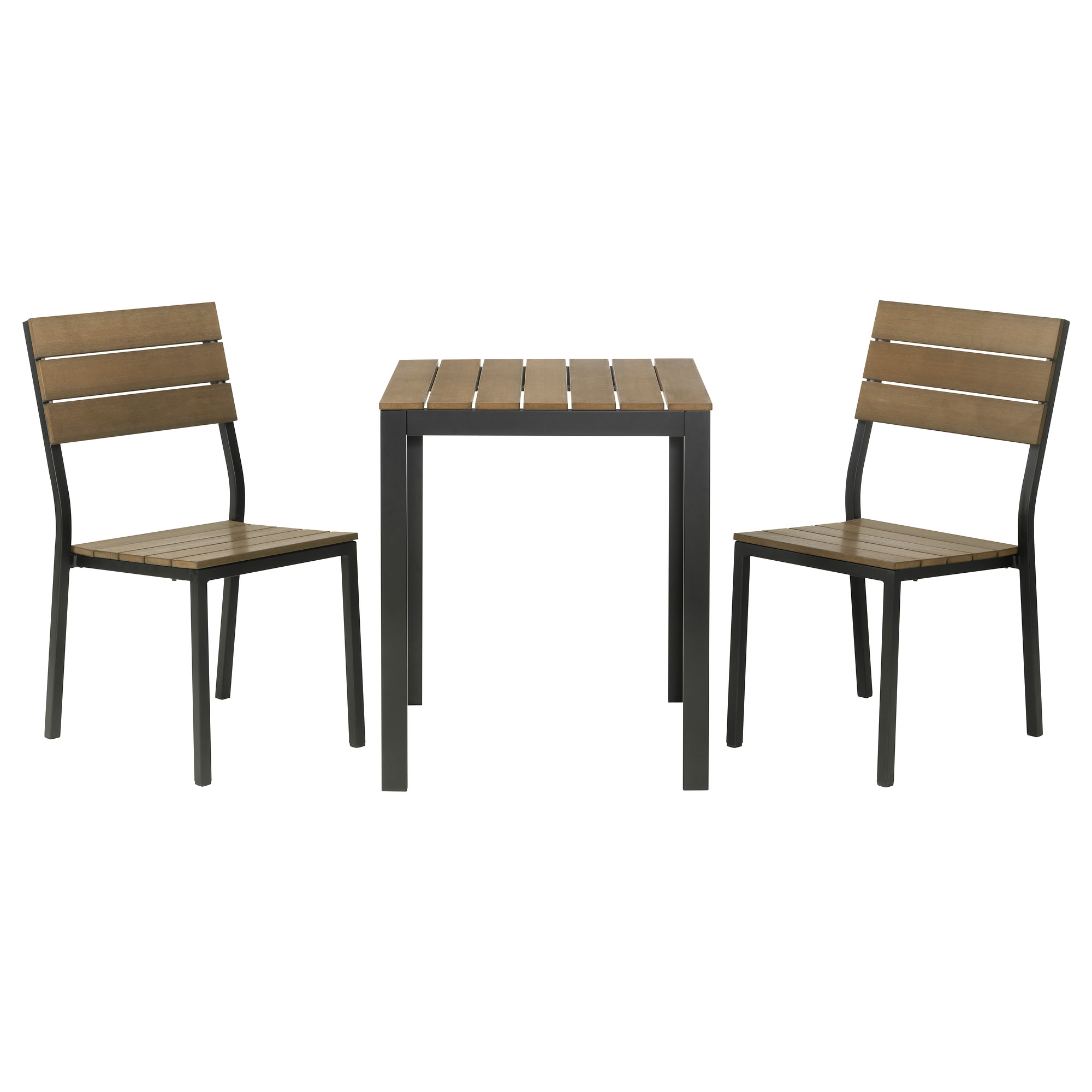 Simple Ikea Bistro Set Made Of Wood And Flat Iron With A Table And Two  Decorative