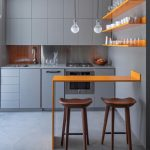 Simple Modern Kitchen With Soft Grey Furniture And Cabinet Also Grey Microwave Drawer And Two Pendant Light Upon Orange Remodel Floating Island Ledge With Two Brown Chairs