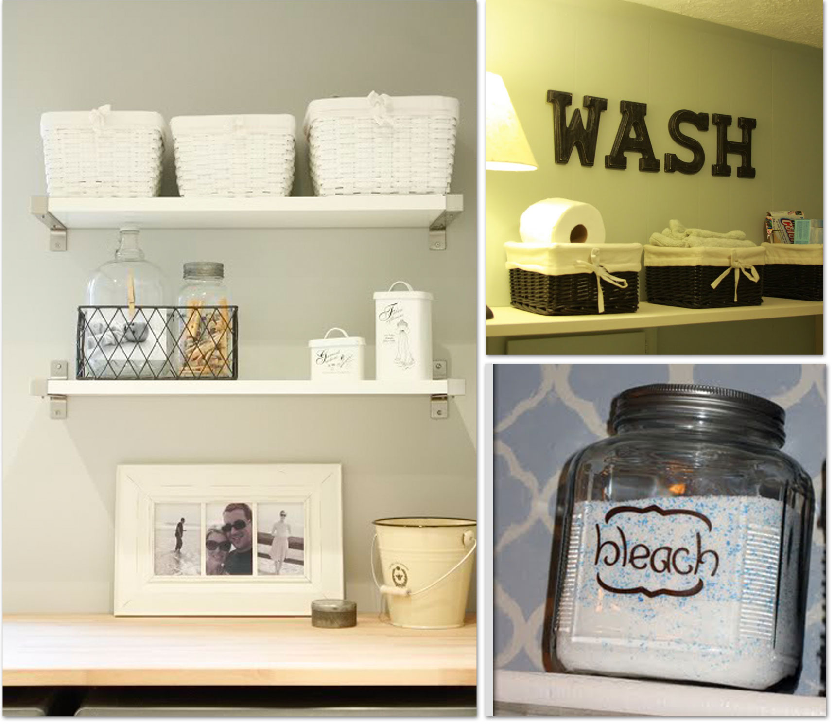 Awesome Utility Room Ideas. Simple Shelves Idea For Organizing Boxes Washing  Supplies And Some Decorative Items Like A Picture Frame