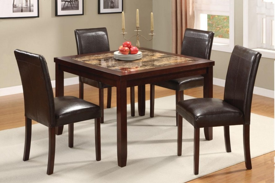 Granite Dining Table Set Flooding the Dining Room with  : simple square granite dining table set in dark finishing featuring brown leather dining chairs and white rug area on wooden floor plus candleholders and pictures on wall from homesfeed.com size 888 x 592 jpeg 101kB