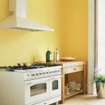 simple yellow kitchen paint idea with small kitchen set and small island with open plan