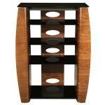 single and bold ikea stereo cabinet design with beige and black and white combination with four drawers
