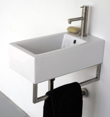 Small wall mounted sink a good choice for space challenged bathroom homesfeed for Compact sinks for small bathrooms