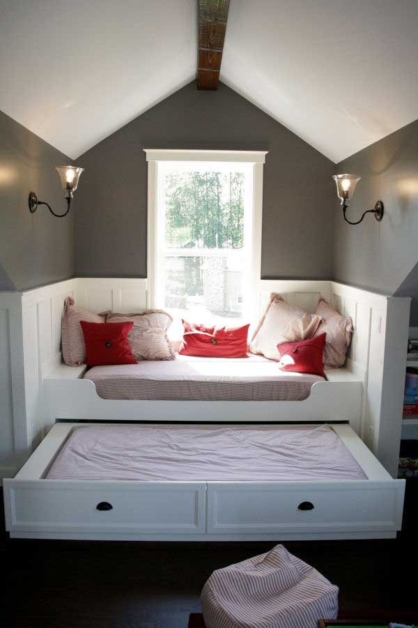 small room ideas with window seats with storage completed with bedding set  plus wall scones and