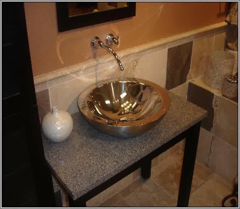 Small Round Metal Vessel Sink In Gold Tone Color A Wall Mount Steel Faucet