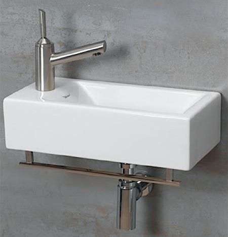Small Wall Mount Sink Idea With Stainless Steel Faucet
