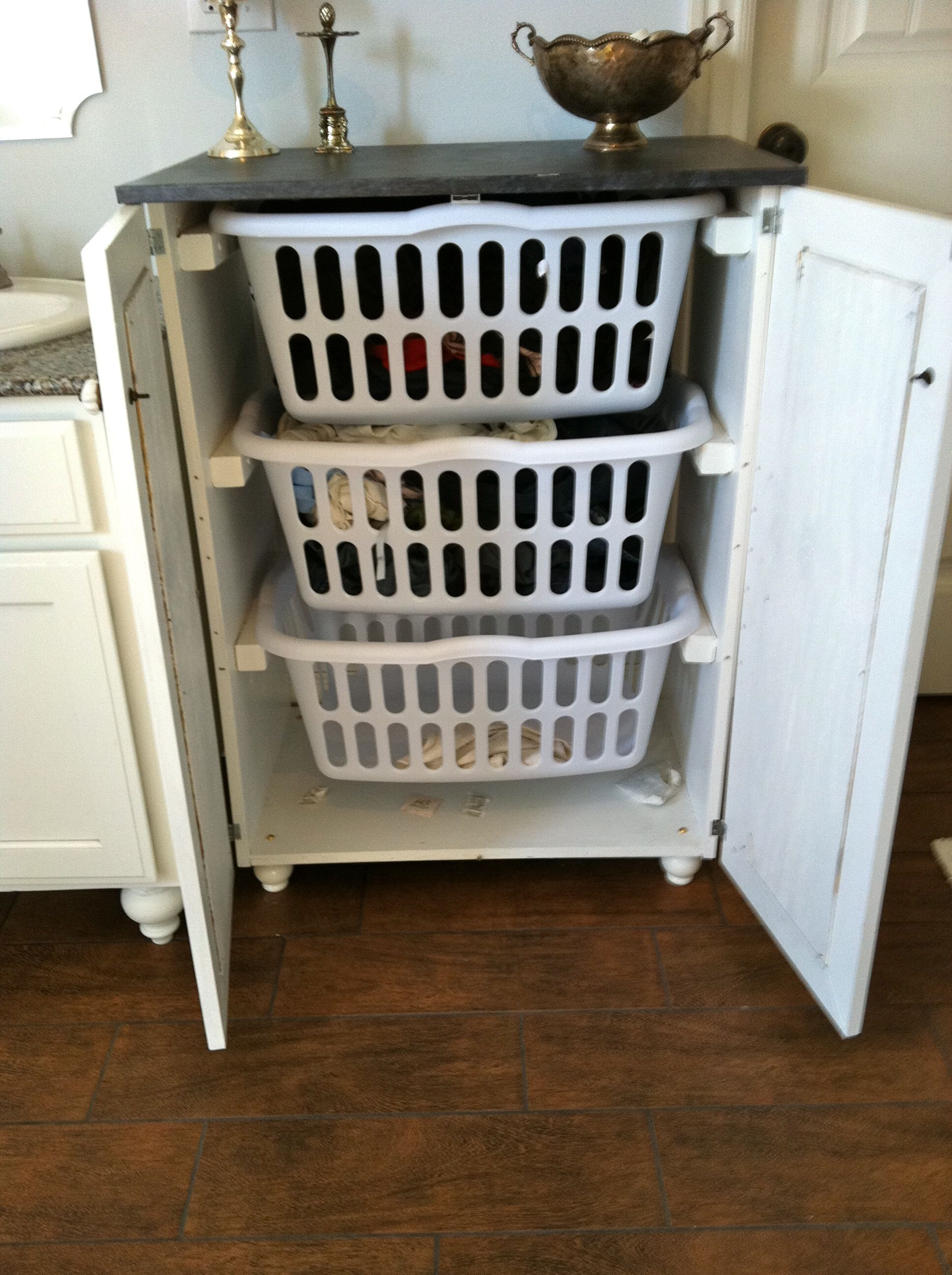 Smart Hidden White Laundry Hamper Cabinet From Dresser