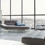 soft leather grey sectional sofa with chaise idea and tuft pattern and slim model and open plan of modern living room