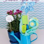 stunning and lovable daycare teacher gift design with blue chevron pattern and blue cattle and potted flower