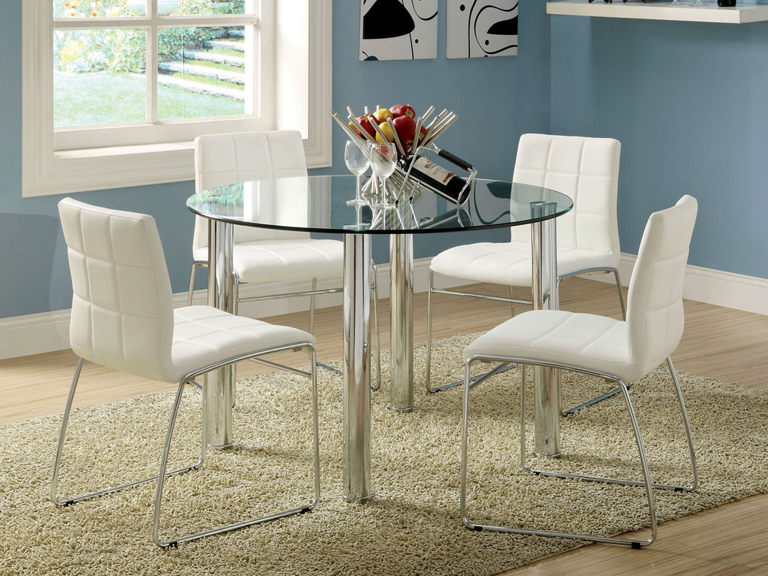 stunning blue all glass dining table design with white modern chairs and round shape and vased - Blue And White Dining Chairs