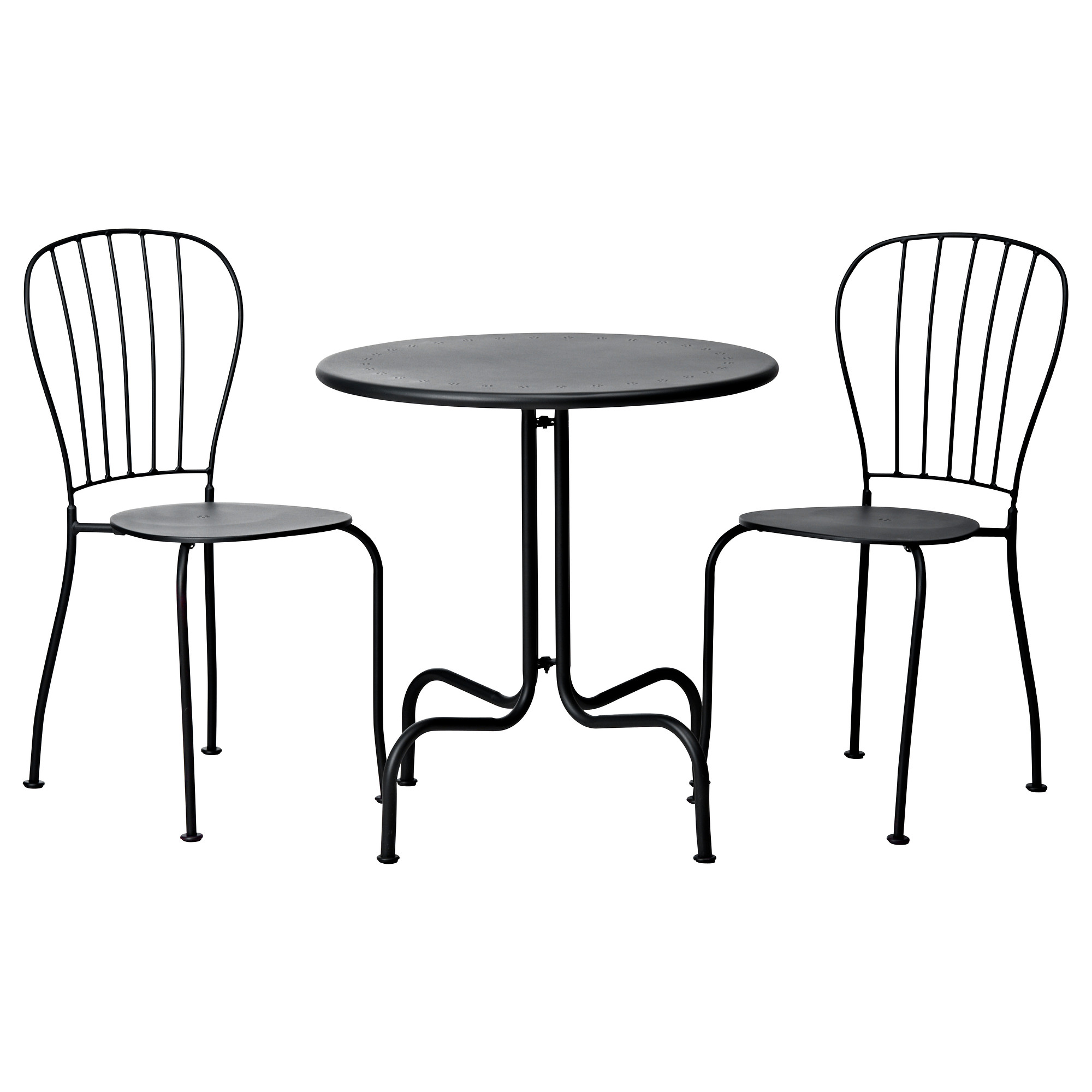 great stunning ikea bistro set consisting of two pretty metal chair and a round table in black. Black Bedroom Furniture Sets. Home Design Ideas