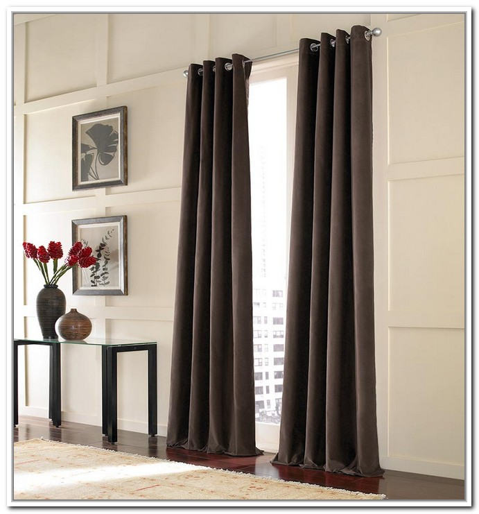 Stunning Interior Design With Black Silky Curtain Design On Long Stainless  Steel Tension Rod Aside Black