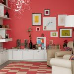 stunning interior idea with coral color painted wall with white sofa and white floor lamp and wall storage