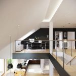 stunning large loft area design with office and beige flooring with black wall and glass railing fence beneath sloping ceiling