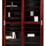 stunning media storage cabinet with glass sliding doors