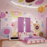 stunning pink bedroom design with big polka dot pattern on the wlal with suspended ceiling idea with creamy flooring and yellow pendant