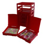 stunning red scrapbook paper organizer design with drawers and rack