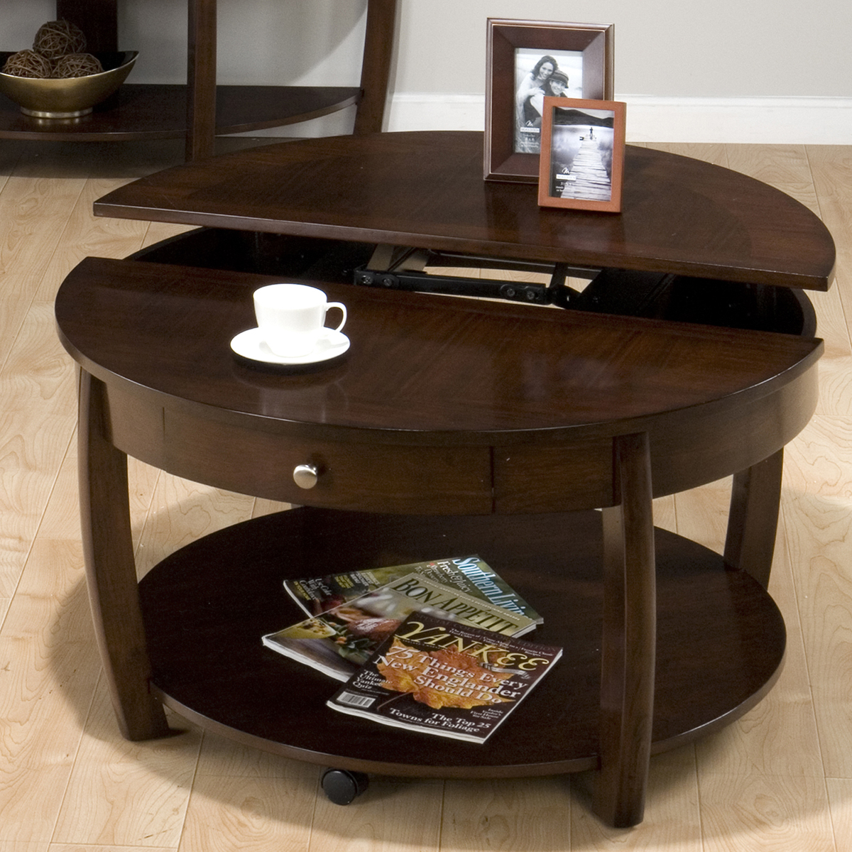 stunning round coffee tables with storage made of wooden beautified with  photo frame decorated in hardwood. The Round Coffee Tables with Storage   the Simple and Compact