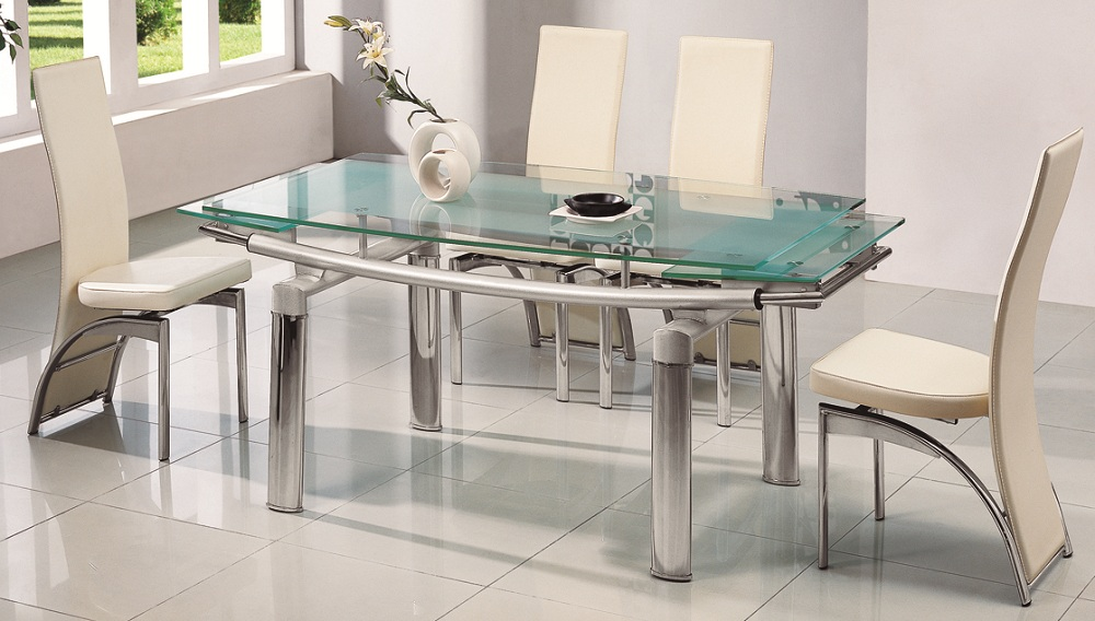 All Glass Dining Table Luxurious Set for Perfect Dinner  : stunning soft green all glass dining table design with fascinating creamy chairs idea in white room with glass window from homesfeed.com size 1000 x 568 jpeg 192kB