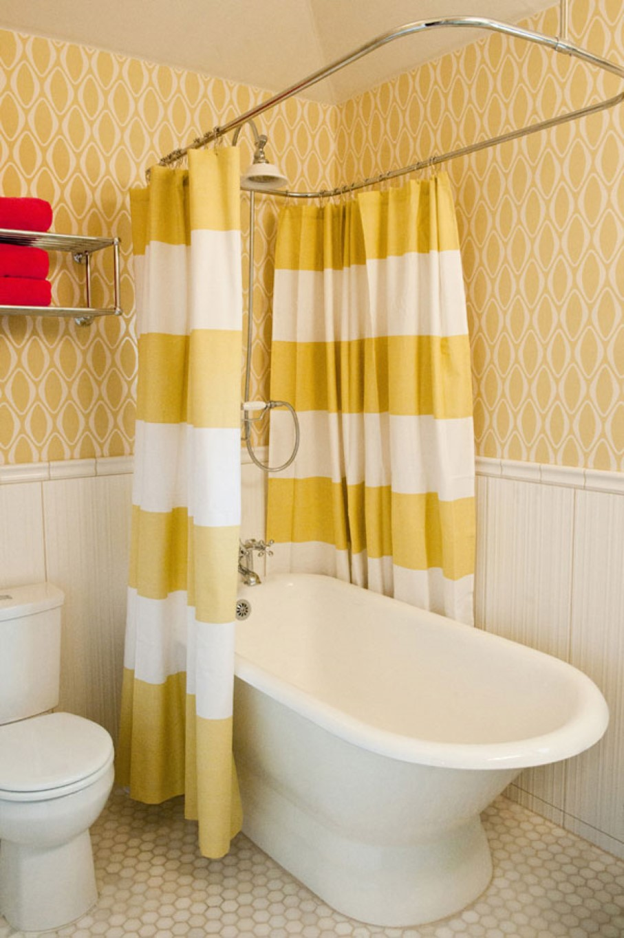 Stunning Yellow Bohemian Chower Curtain Design With Curved Rod And Stripe Pattern White Tub