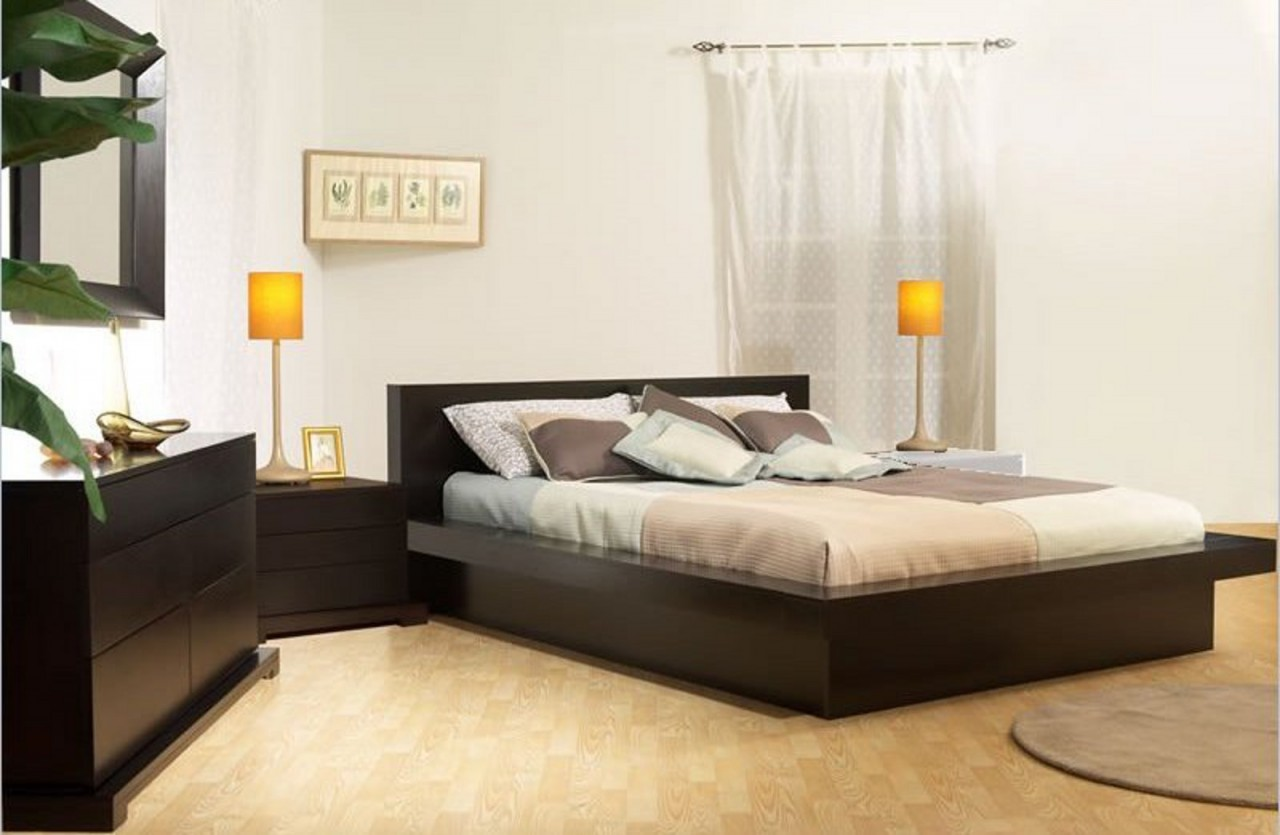 stylish bedroom ideas with wooden low profile platform bed frame and cozy  bedding plus night stand Low Profile Platform Bed Frame Displaying Interesting Bedroom