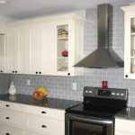 stylish colored subway tile in grey for modern kitchen ideas decorated with white wooden kitchen cabinets and grey granite countertop