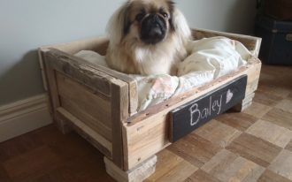 stylish dog beds made of wood completed with comfy mattress and the name of the dog mounted on wooden bed frame