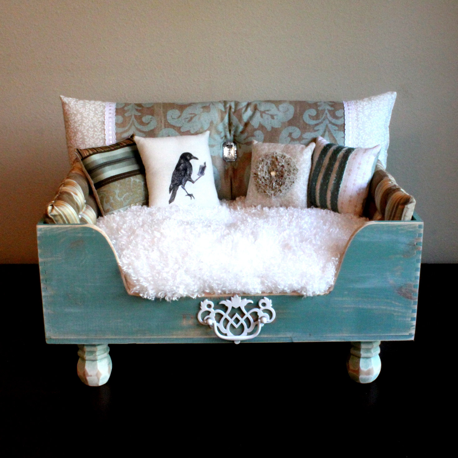 Stylish Dog Beds With Wooden Bed Frame Plus White Furry Mattress Andfy  Cushions For Small
