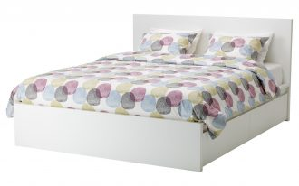 stylish ikea bed frame with drawers in white scheme adorned with colorful polka bedding set for amazing bedroom ideas