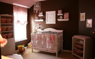 sweet-baby-girl-bedroom-with-plain-brown-wall-and-pink-ceiling-and-wooden-window-also-crystal-chandelier-for-soft-light