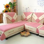 sweet modern pink couch cover for sectional idea with triangle shape pattern and floral cushion and sun flower and wallpaper decoration