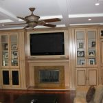 traditional in wall entertainment center with glass door and fireplace plus mid century ceiling fan and moden living room idea