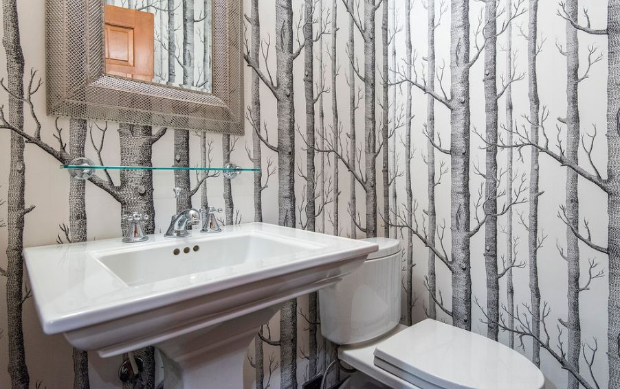 Tree Birch Wallpaper Design For Bathroom With White