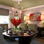 tree-birch-wallpaper-for-dining-room-with-green-chairs-and-brown-dining-table-and-red-flowers-centerpiece-near-window-and-tree-chandelier