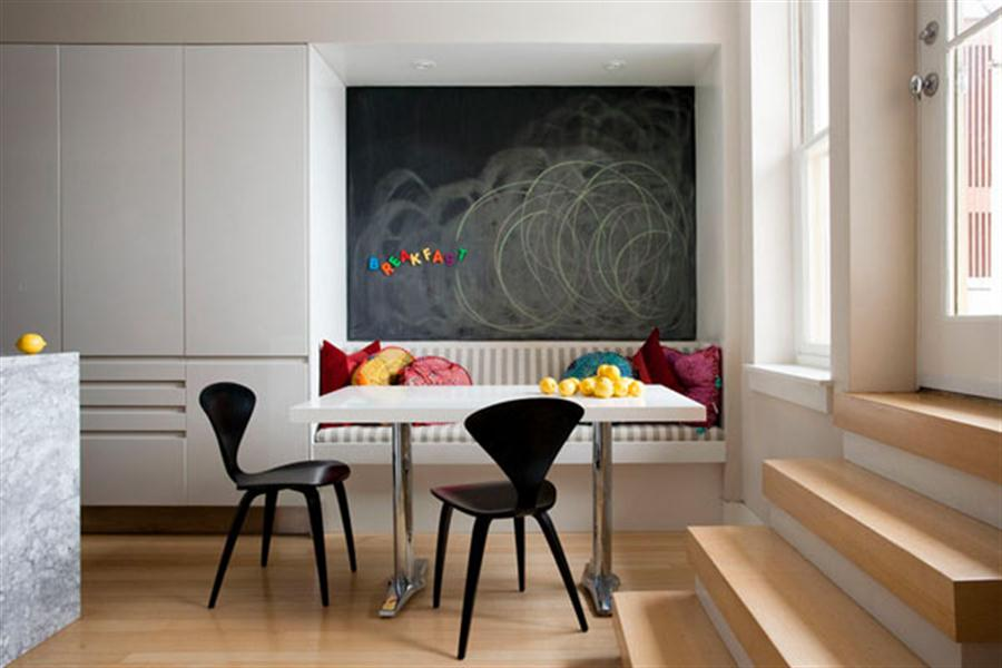 Unique Corner Dining Table Set Idea With White Table And Black Modern Chairs  And Banquette And
