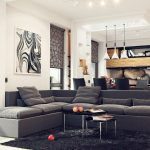 unique grey sectional sofa with chaise idea wit cushions and pendant lamps and black furry rug and black coffee table