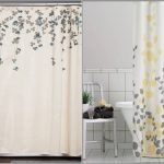 Unique Nature Shower Curtain Idea With White Base And Yellow And Gray Color Combination On Pattern