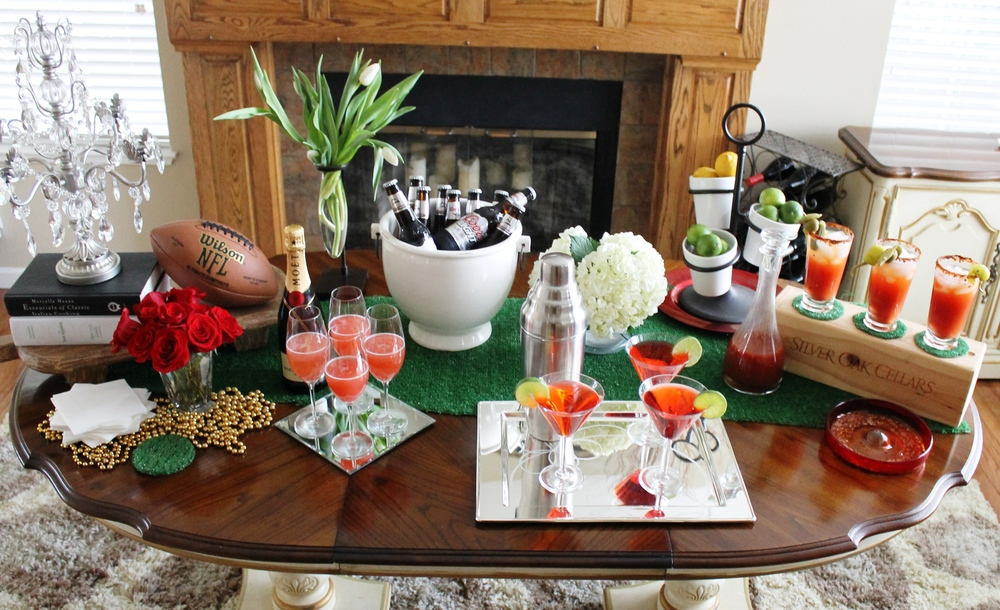 unique super bowl party decoration idea on table centerpiece with wooden  table and fireplace