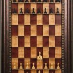 unusual-brown-wooden-straight-up-wall-mounted-and-framed-chess-set-with-red-and-beige-chessboard