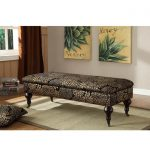 upholstered bench with storage with classic design and admirable motif plus cushion and warm rug on solid wooden floor