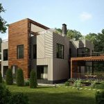 very nice forest house design with four blocks with white and brown color combination and open plan