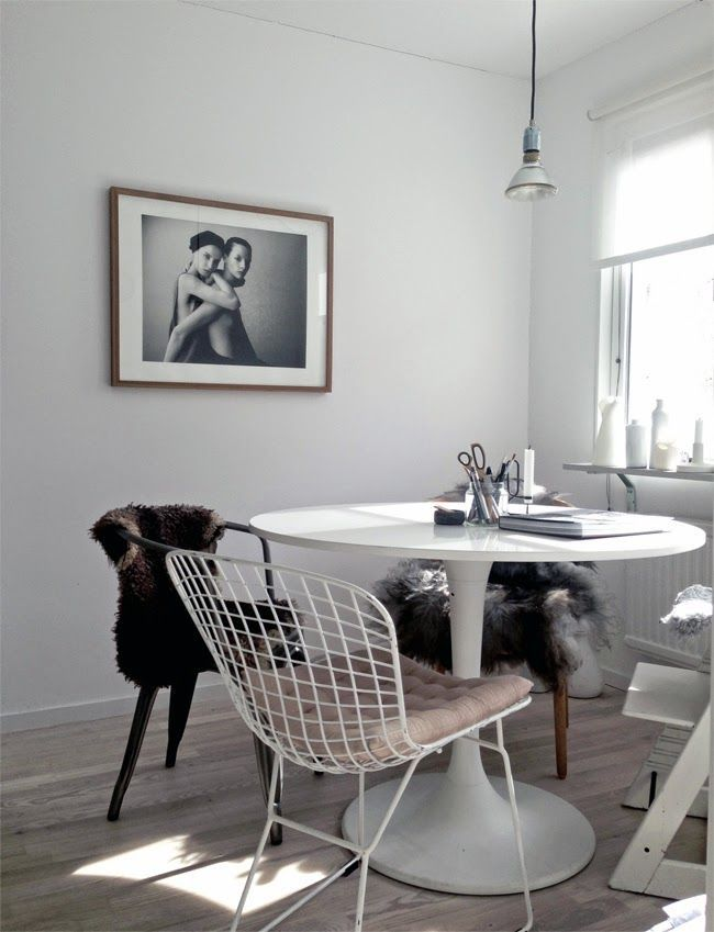 Vintage Dining Space Idea With Ikea Chair Desgn And White Wire Chair And  Black And Traditional