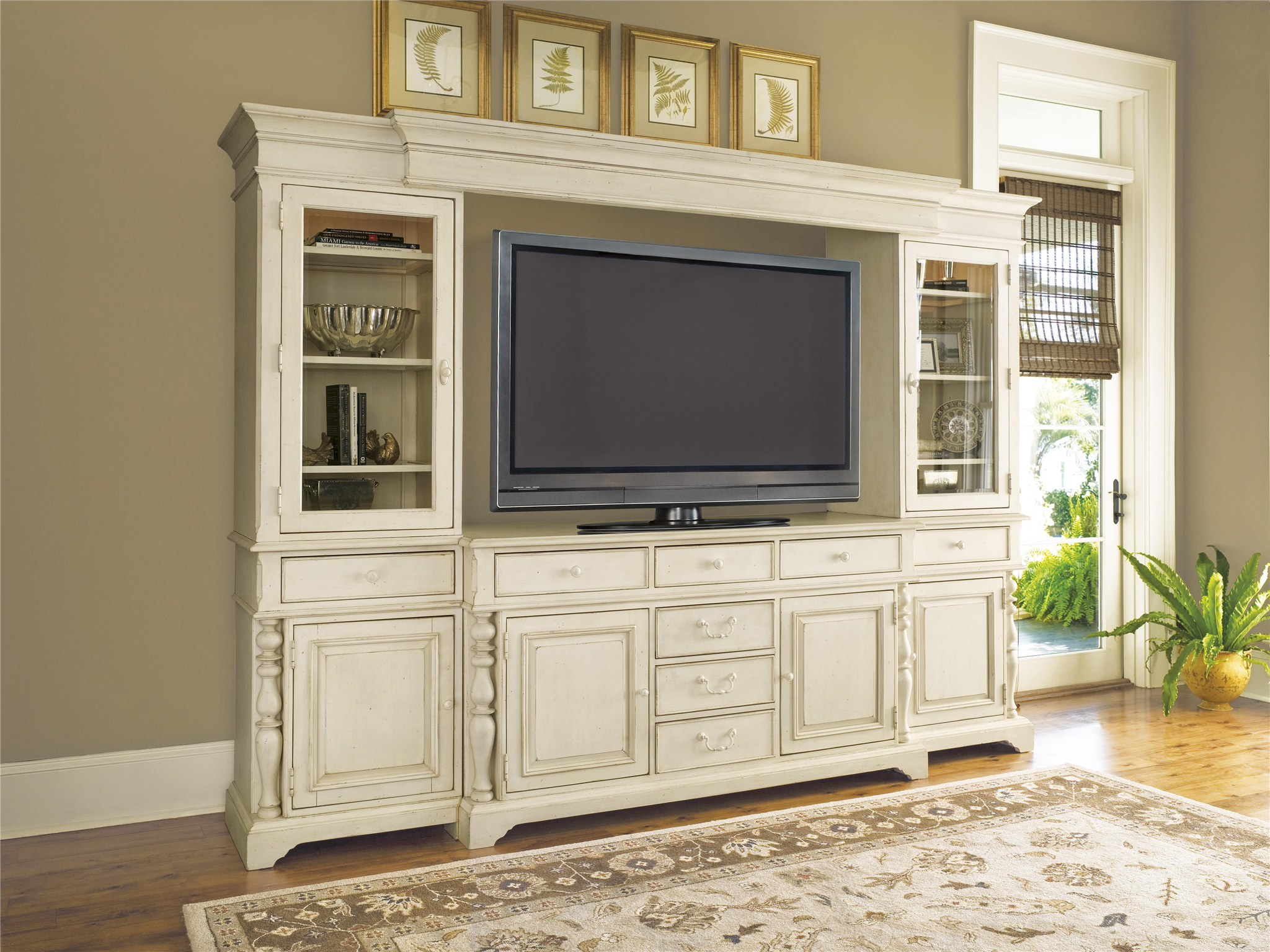 Vintage Entertainment System Furniture With A Lot Of Drawers And Glass Door  Plus Flat Tv And